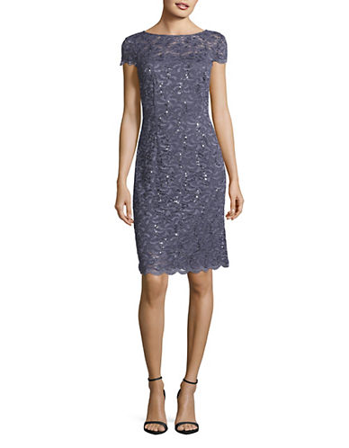 Alex Evenings Cap Sleeve Lace Dress-BLUE-4