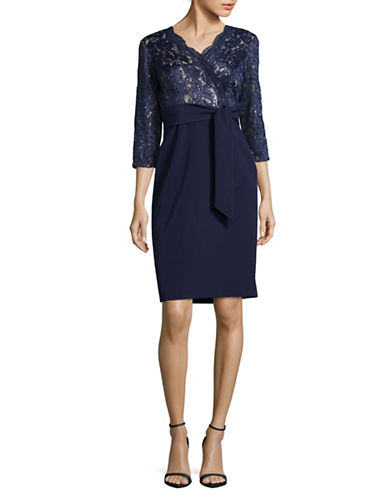 Alex Evenings Sequin Bodice Sheath Dress-NAVY-16