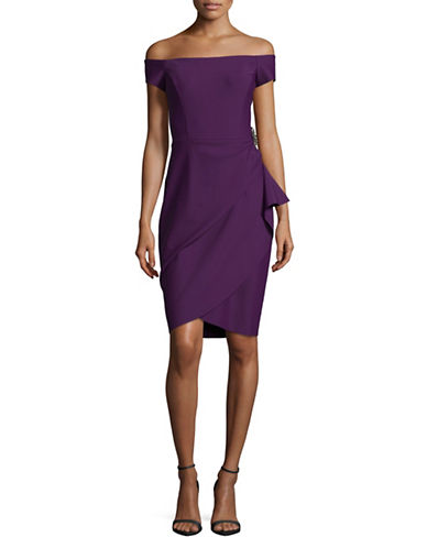 Alex Evenings Off The Shoulder Side Ruched Scuba Cocktail Dress-PLUM-10