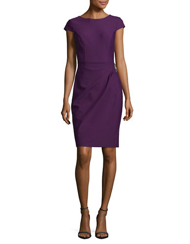Alex Evenings Embellished Cap Sleeve Sheath Dress-PURPLE-2