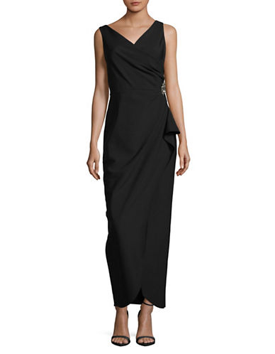 Alex Evenings Sleeveless Side Ruche Maxi Dress-BLACK-12