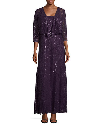 Alex Evenings Sparkling Floor-Length Dress and Cascade Cardigan Set-PURPLE-14