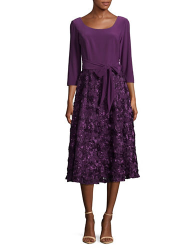 Alex Evenings Self-Tie Rosette Flare Dress-PURPLE-6