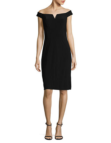 Alex Evenings Off-The-Shoulder Sheath Dress-BLACK-8