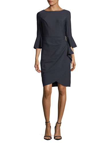 Alex Evenings Bell Sleeve Cocktail Dress-GREY-10