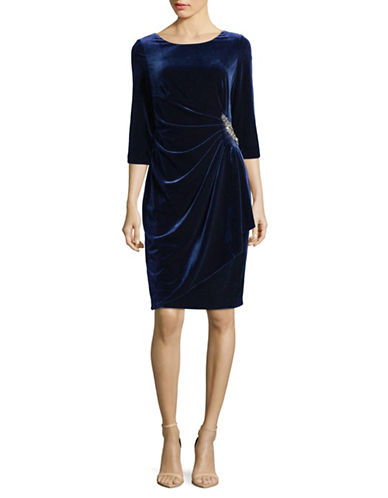 Alex Evenings Gathered Velvet Dress-BLUE-16