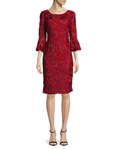 Alex Evenings Bell-Sleeve Stash Shift Dress-RED-10