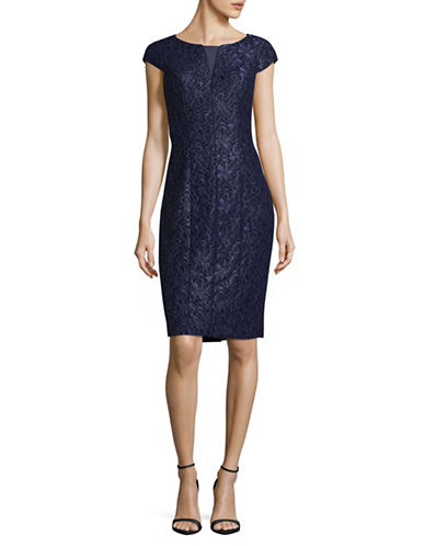 Alex Evenings Cap Sleeve Sheath Dress-BLUE-4