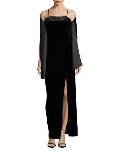 Alex Evenings Slit Velvet Column Dress-BLACK-10