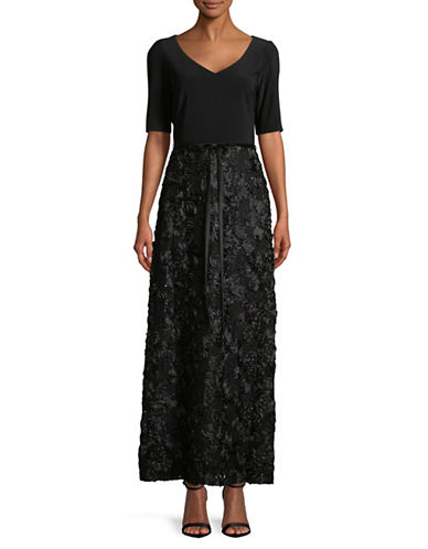 Alex Evenings Embellished V-Neck Gown-BLACK-10