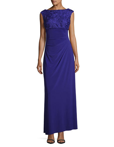 Alex Evenings Lace-Trim Column Gown-ROYAL BLUE-12