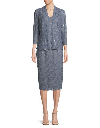 Alex Evenings Embellished Jacket and Sleeveless Lace Midi Dress-BLUE-14
