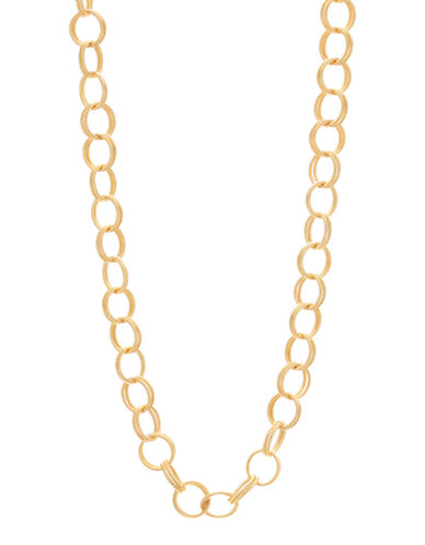 Betsey Johnson Textured Round Link Long Necklace-GOLD-One Size