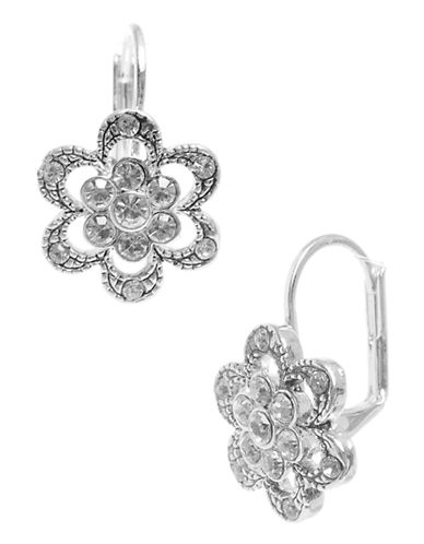 Betsey Johnson Mini Pave Flower Drop Earring-SILVER-One Size