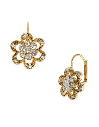 Betsey Johnson Crystal Flower Drop Earring-CRYSTAL-One Size