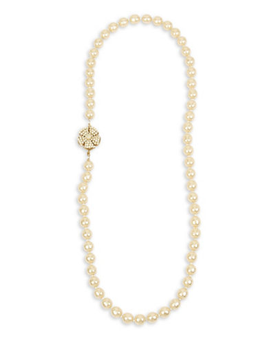 Miriam Haskell Crystal Stone Flower Frontal Pearl Strand Necklace-WHITE-One Size