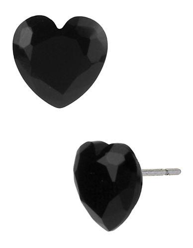 Betsey Johnson Heart Stud Earring-BLACK-One Size