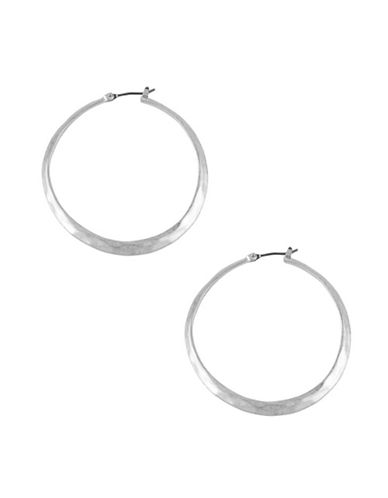 Kenneth Cole New York Silver Textured Hoop Earring-SILVER-One Size
