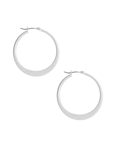 Kenneth Cole New York Silver Sculptural Hoop Earring-SILVER-One Size