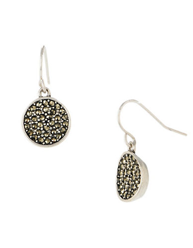 Kenneth Cole New York Pave Circle Drop Earring-SILVER-One Size