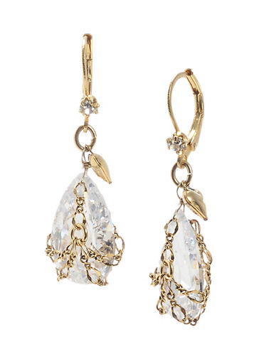Betsey Johnson Small Briolette Crystal Drop Earring-GOLD-One Size