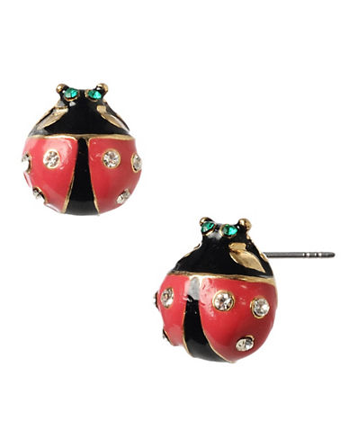 Betsey Johnson Lady Bug Stud Earring-RED/BLACK-One Size