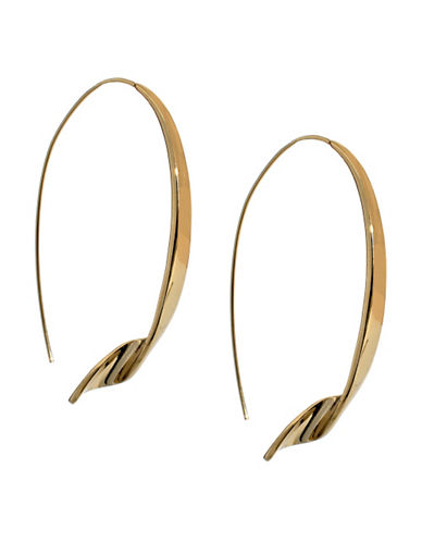Kenneth Cole New York Oval Twist Pull Thru Earring-GOLD-One Size