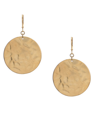 Kenneth Cole New York Gold Hammered Circle Drop Earring-GOLD-One Size