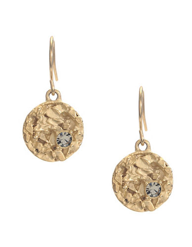 Kenneth Cole New York Textured Circle Drop Earring-GOLD-One Size