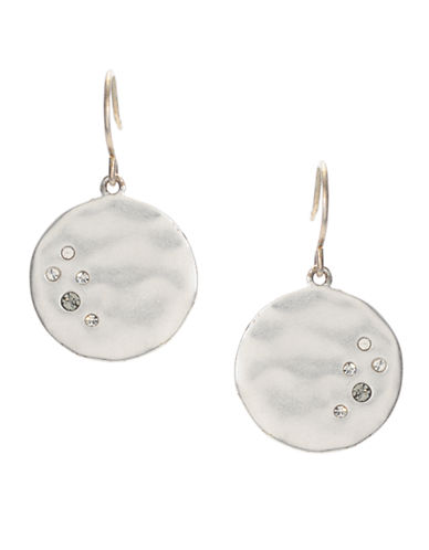 Kenneth Cole New York Pave Silver Circle Drop Earring-SILVER-One Size