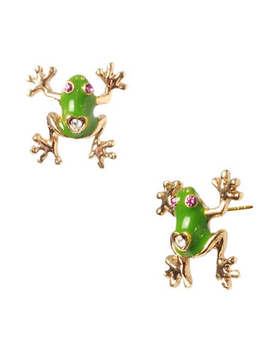 Betsey Johnson Frog Stud Earring-GREEN-One Size