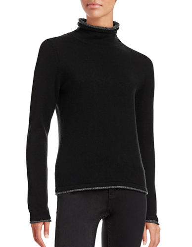 Ply Cashmere Double Layer Cashmere Turtleneck-BLACK/WHITE-Small plus size,  plus size fashion plus size appare