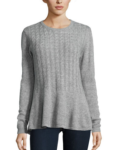 Ply Cashmere Cashmere Peplum Sweater-GREY-Small plus size,  plus size fashion plus size appare