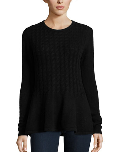 Ply Cashmere Cashmere Peplum Sweater-BLACK-Medium plus size,  plus size fashion plus size appare
