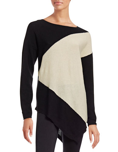 Ply Cashmere Two-Tone Cashmere Sweater-BLACK/ IVORY-X-Large plus size,  plus size fashion plus size appare