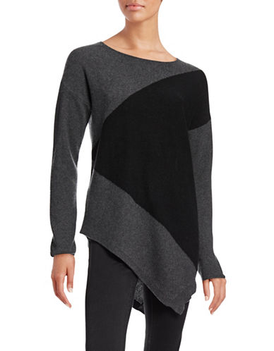 Ply Cashmere Two-Tone Cashmere Sweater-CHARCOAL/BLACK-X-Large plus size,  plus size fashion plus size appare