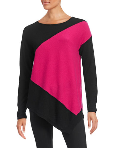 Ply Cashmere Two-Tone Cashmere Sweater-BLACK/PINK-X-Large plus size,  plus size fashion plus size appare