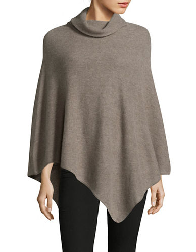 Ply Cashmere Cashmere Turtleneck Poncho-TAUPE-One Size