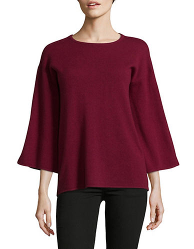 Ply Cashmere Vented Bell Sleeve Cashmere Sweater-BURGUNDY-Small