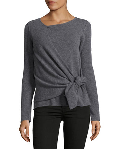 Ply Cashmere Tie-Front Cashmere Sweater-DEEP GRAY HEATHER-Small