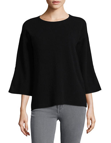 Ply Cashmere Vented Bell Sleeve Cashmere Sweater-BLACK-Medium
