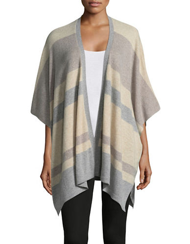Ply Cashmere Colourblock Cashmere Poncho-TAUPE COMBO-Small/Medium