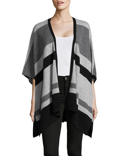 Ply Cashmere Colourblock Cashmere Poncho-BLACK COMBO-Small/Medium