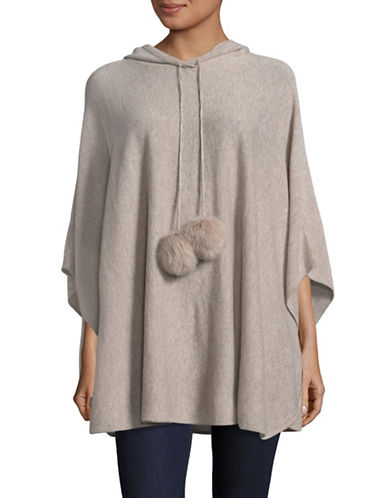 Ply Cashmere Hooded Cashmere Poncho with Fur Pom-Poms-GRAY HEATHER-Large/X-Large