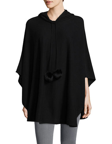 Ply Cashmere Hooded Cashmere Poncho with Fur Pom-Poms-BLACK-Small/Medium