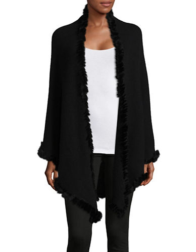Ply Cashmere Cashmere Poncho with Fur Trim-BLACK-One Size