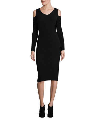Ply Cashmere Off-Shoulder Cashmere Midi Dress-BLACK-Large