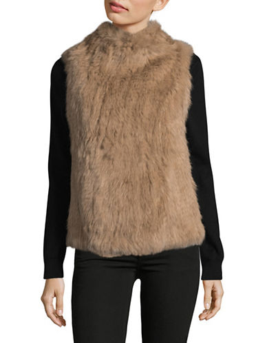 Ply Cashmere Fur and Cashmere Asymmetrical Vest-DEEP CAMEL-Large