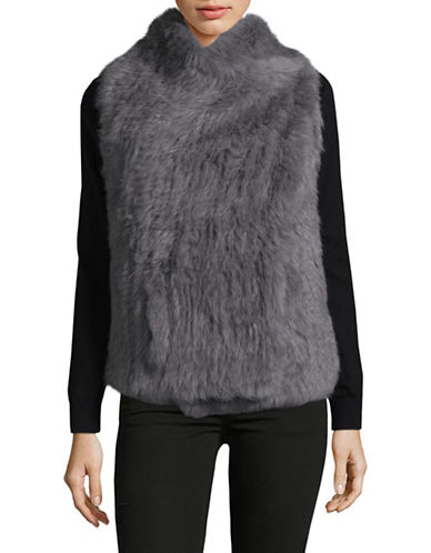 Ply Cashmere Fur and Cashmere Asymmetrical Vest-GREY-Medium