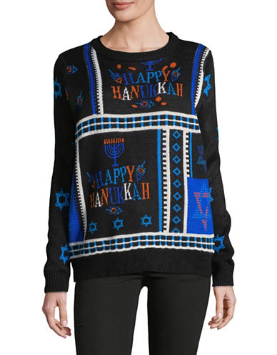 Faith & Zoe Happy Hanukkah Greeting Sweater-BLACK-Medium